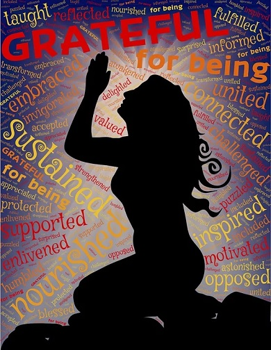Graphic of woman kneeling, praying with words grateful and other words